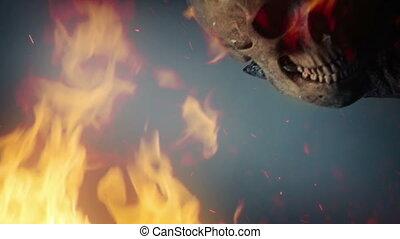 crânes, fumée, ascenseurs, ogre, dehors, brûler