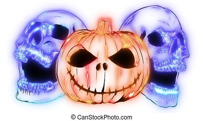 crânes, halloween, animation, vidéo, citrouille