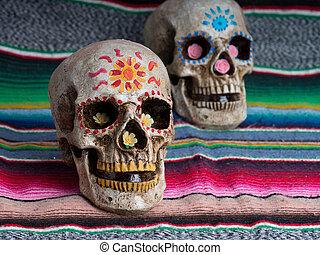 crânes, jour, mort