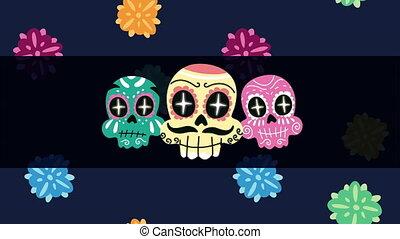 crânes, peint, mexique, célébration, animation, têtes