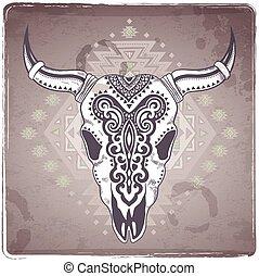 crânio animal, tribal, ilustração, ornamentos, étnico