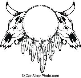 crânios, touro, e, tambourine