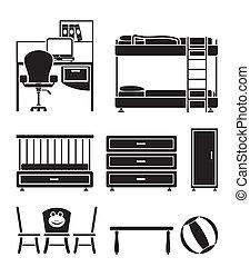 crèche, enfants, objets, salle