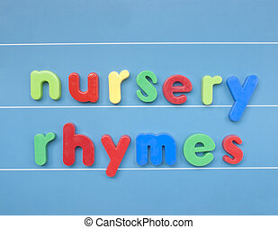 crèche, lettres, coloré, rhymes