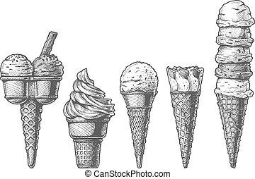 crème, cônes, collection, glace