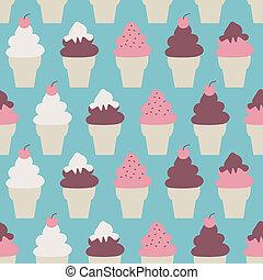 crème, cônes, fond, glace