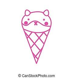 crème, chouchou, peu, cône, mascotte, mignon, chien, glace