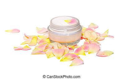 crème, cosmétique, soin peau, beauté, organique, à, rose-leaf, bio, naturel, isolé, blanc, fond