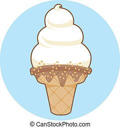 crème douce, servir, glace, icône