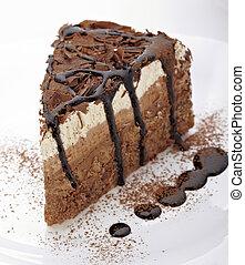 crème, gâteau chocolat, nourriture douce