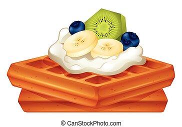 crème, gaufre, fruits