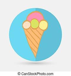 crème, glace, icône