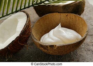 crème hydratante, naturel, noix coco, crème