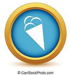 crème, or, glace, icône