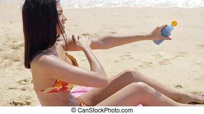 crème, plage, femme, demande