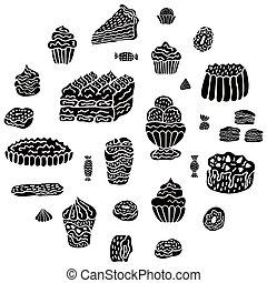 crème, scandinave, glace, gâteaux, isolé, blanc, noir, arrière-plan., beignets, etc., décor, mettez stylique, bonbons, desserts, vector., menu, style