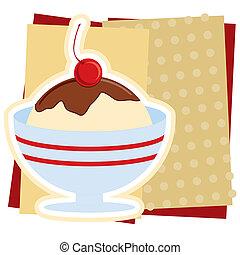 crème, sundae, illustration, glace