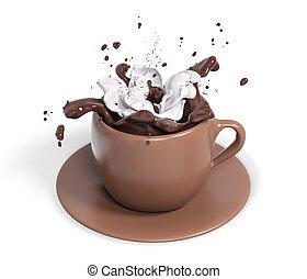 crème, tasse, chocolat, rendre, fouetté, 3d