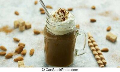 crème, tasse, fouetté, cacao, caramel
