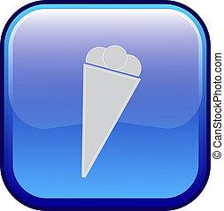 crème, vecteur, -, glace, icône
