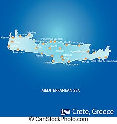 crète, carte, grèce, île