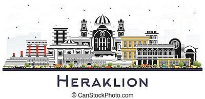 crète, couleur, grèce, horizon, isolé, ville, heraklion, white., bâtiments