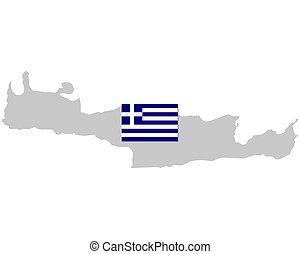 crète, drapeau, carte