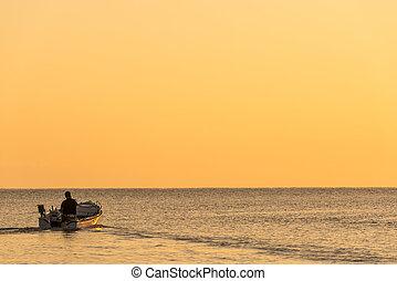 crète, méditerranéen, canot automobile, mer