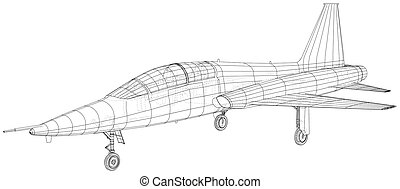 créé, wireframe, avion., concept., vecteur, 3d, illustration