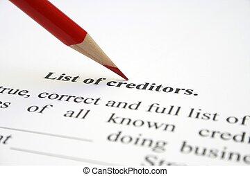 créancier, liste