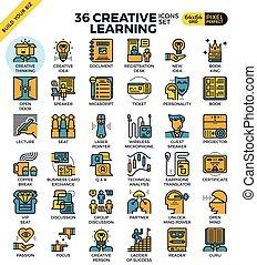 créatif, apprentissage, icônes