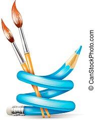 créatif, art, concept, à, tordu, crayon, et, brosses, pour, dessin