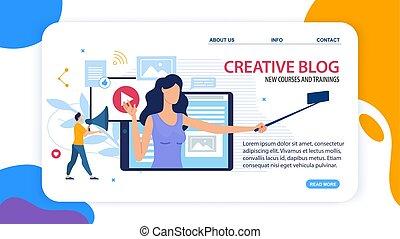 créatif, blog, cours, nouveau, training., bannière