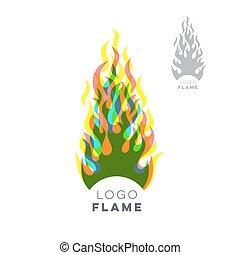 créatif, brûler, flamme, logo, conception, concept