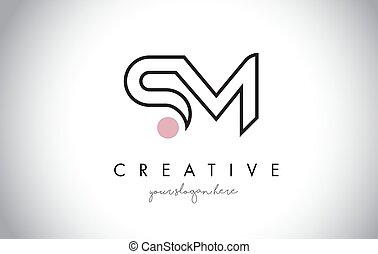 créatif, branché, lettre, sm, logo, moderne, conception,...