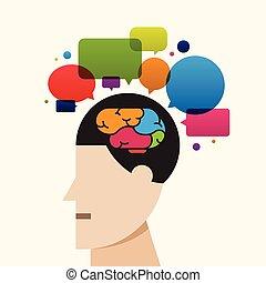 créatif, cerveau, processus, pensée, idée