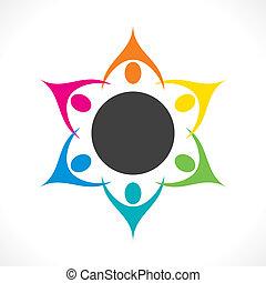 créatif, collaboration, coloré, gens