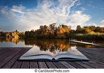 créatif, concept, image, de, ciel coucher soleil, reflété dans, automne, automne, lac, dans, pages, de, livre
