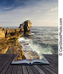 créatif, concept, image, de, marine, paysage, sortir, de, pages, dans, magique, livre