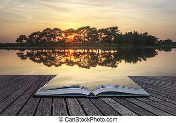 créatif, concept, image, de, reflété, coucher soleil, lac, sortir, de, pages, dans, magique, livre