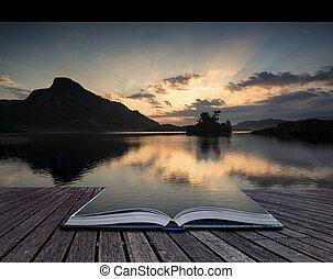 créatif, concept, pages, de, livre, beau, levers de soleil,...