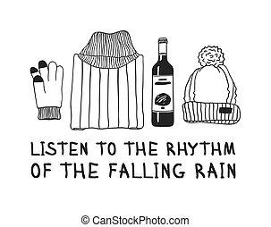 créatif, dessiné, gant, sur, rain., réel, rythme, vin, encre, chapeau, main, illustration, temps, dessin, work., vecteur, text., écouter, rigolote, chandail, tomber, art, citation