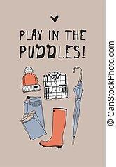 créatif, dessiné, sur, réel, encre, chapeau, main, puddles., illustration, temps, dessin, work., parapluie, vecteur, text., jeu, rigolote, bottes, art, citation, jean