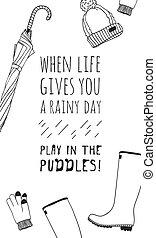 créatif, dessiné, sur, réel, parapluie, encre, donne, chapeau, main, puddles., caoutchouc, illustration, temps, dessin, work., vecteur, text., rigolote, jeu, bottes, pluvieux, quand, vous, jour, art, vie, gants, citation