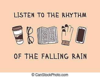 créatif, dessiné, sur, rain., rythme, réel, café, lunettes, encre, tasse, main, illustration, temps, livre, work., dessin, vecteur, écouter, rigolote, text., tomber, art, citation