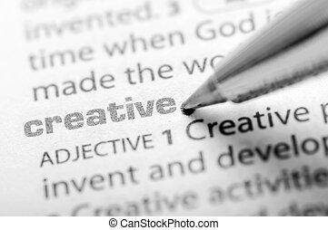créatif, -, dictionnaire, série