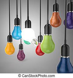 créatif, direction, ampoule, idée, lumière, couleurs, concept