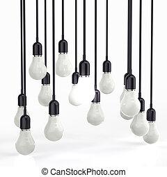 créatif, direction, ampoule, lumière, idée, concept