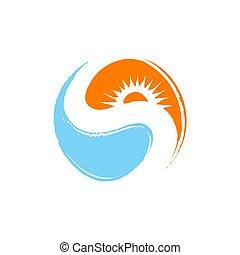 créatif, exotique, vecteur, gabarit, été, plage, illustration, logo, conception