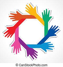créatif, fond, main